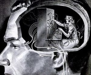 black and white, woman, and brain image