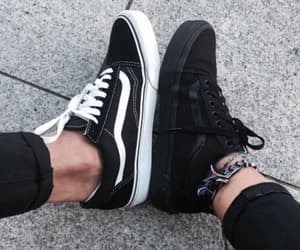 black, vans, and white image