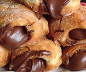 chocolate, cream, and croissant image