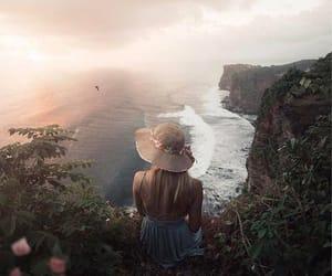 girl, ocean, and sky image