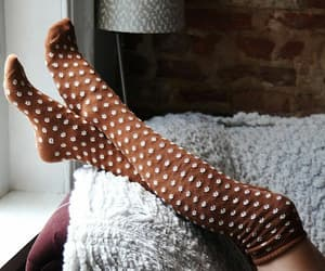 socks, brown, and autumn image