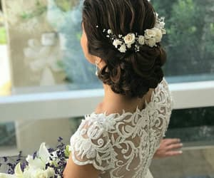 bride, fashion, and flowers image