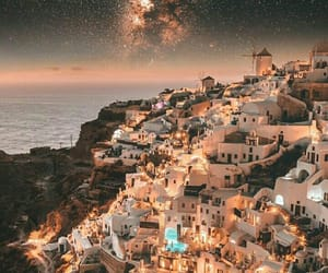 lights, night, and santorini image