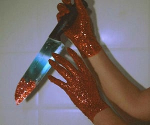 red, glitter, and knife image