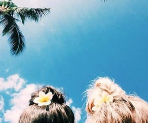 blue, tropical, and girls image