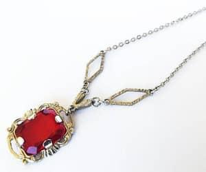 etsy, rhinestone pendant, and red stone necklace image