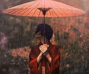 rain, japan, and red image