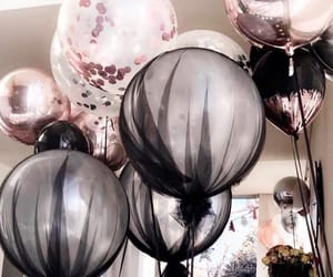 balloons, birthday, and black image