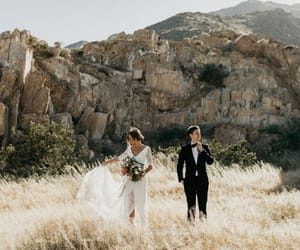 couple, dress, and wedding image