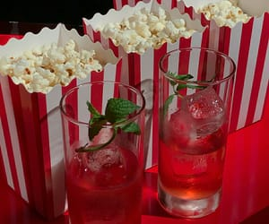 drink, popcorn, and red image
