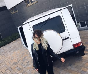 blonde girl, dream car, and fashion image
