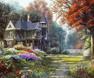 flowers, house, and architecture image