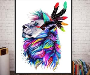 lion, painting, and canvas art image