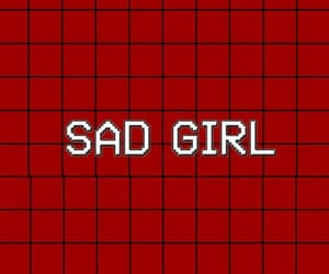 wallpaper, red, and sad girl image
