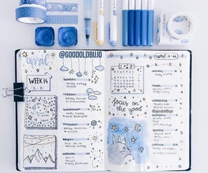 bullet journal, blue, and journal image
