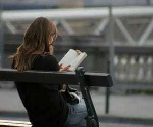 girl, cute, and reading image