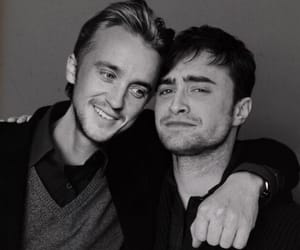 daniel radcliffe, draco malfoy, and harry potter image