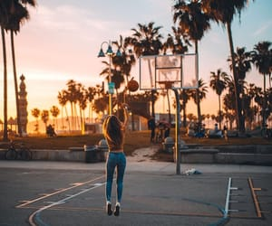 Basketball, la, and sunset image