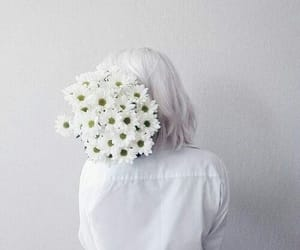 flower, girl, and white image