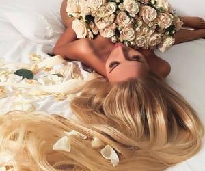 blonde hair, petals, and roses image