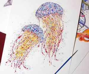 art, colors, and jellyfish image