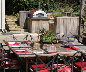 dining table, patio, and garden image
