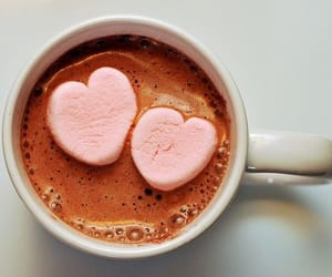 hot chocolate, hearts, and marshmallow image