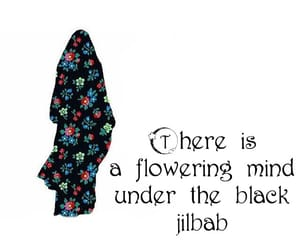black, flower, and hijab image