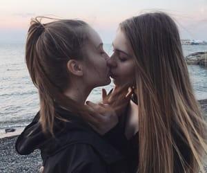 lesbian, beach, and lgbt image