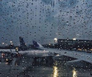 rain, travel, and airport image