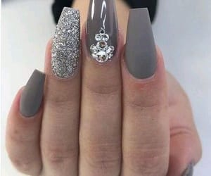 nails, glitter, and grey image