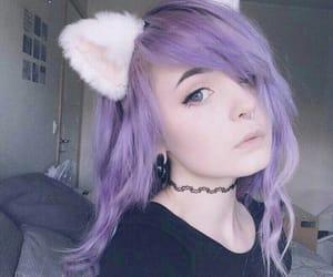 girl, purple hair, and kitty image