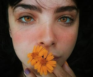 girl, flowers, and eyes image