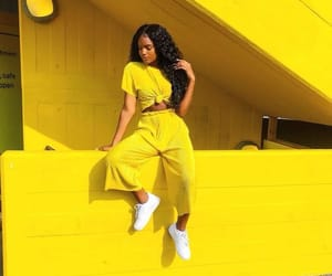 yellow, girl, and fashion image