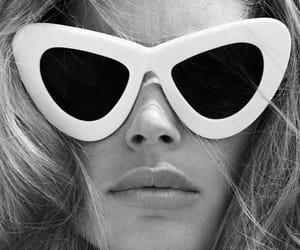 sunglasses, model, and black and white image