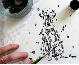 art, dog, and dalmatian image