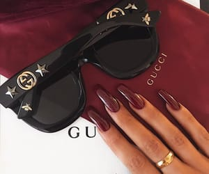 nails, gucci, and sunglasses image