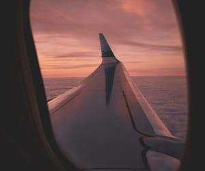 atardecer, plane, and sky image