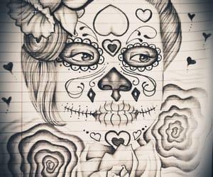 art, drawing, and sugarskull image
