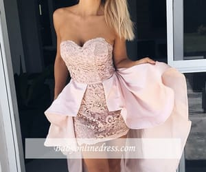 girly, light pink, and strapless image