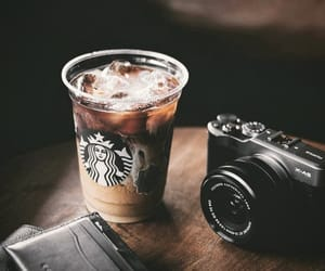 brown, camera, and coffee image