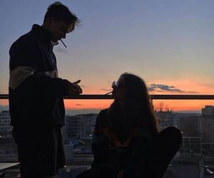couple, grunge, and sky image