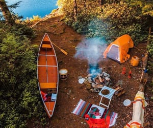 camping, lake, and travel image