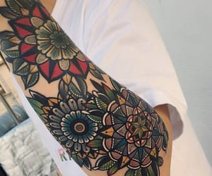 arm tattoo, art, and mandala image
