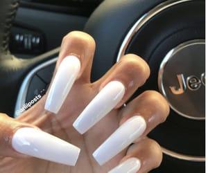 long nails, nails, and white nails image