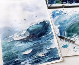 art, journal, and sea image