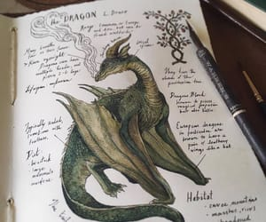 art, dragon, and drawing image