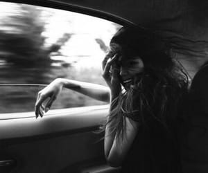 black&white, car, and girl image