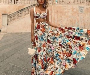 blond, floral, and fashion image