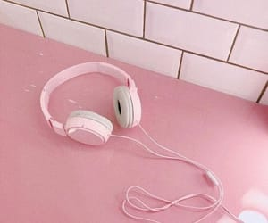 pink headphones, pink inspiration, and pink aesthetic image